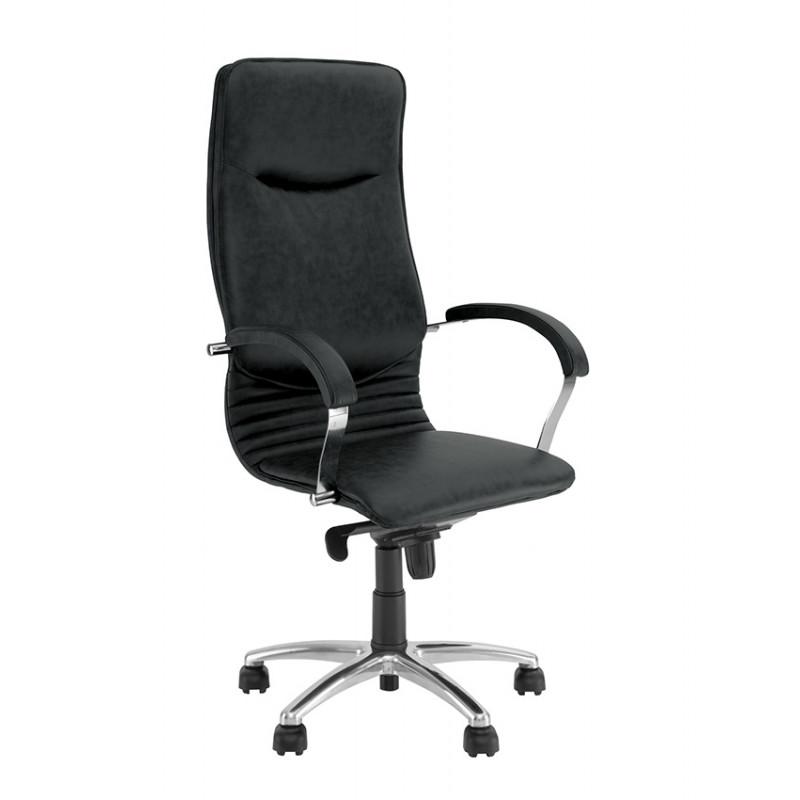 Шкіряне крісло для директора Nova (Нова) steel chrome comfort SP, LE