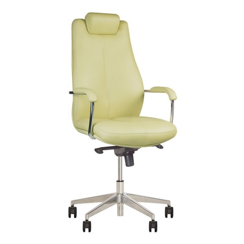 Шкіряне крісло керівника Sonata (Соната) steel chrome LE