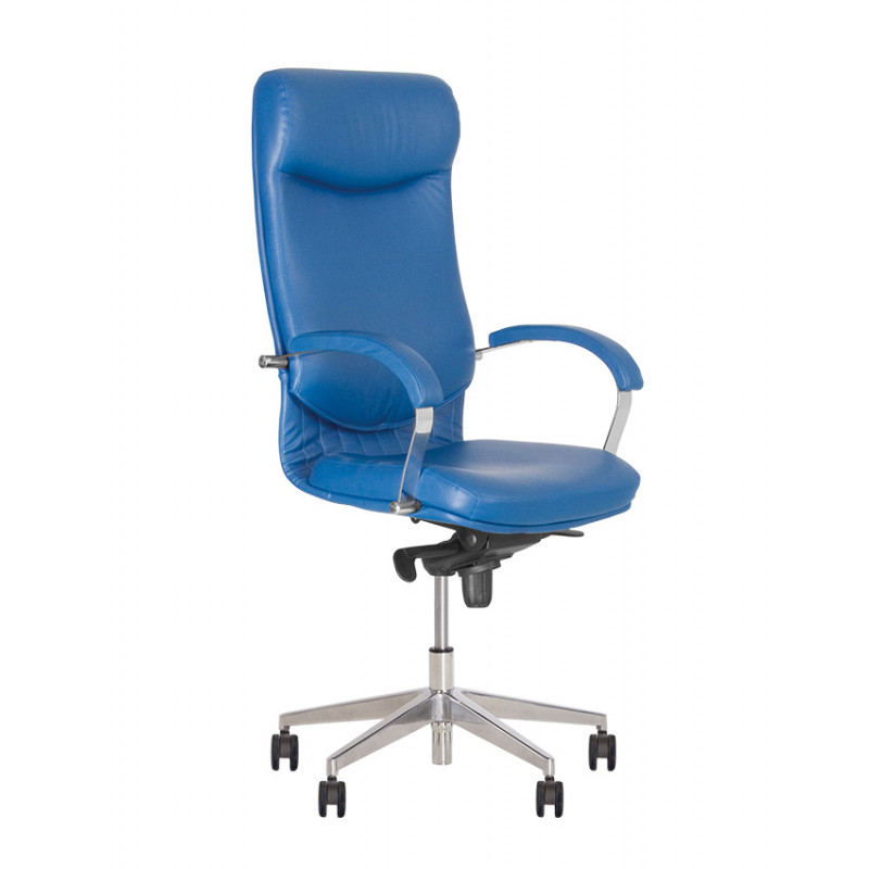 Кожаное кресло руководителя Vega (Вега) steel chrome SP, LE