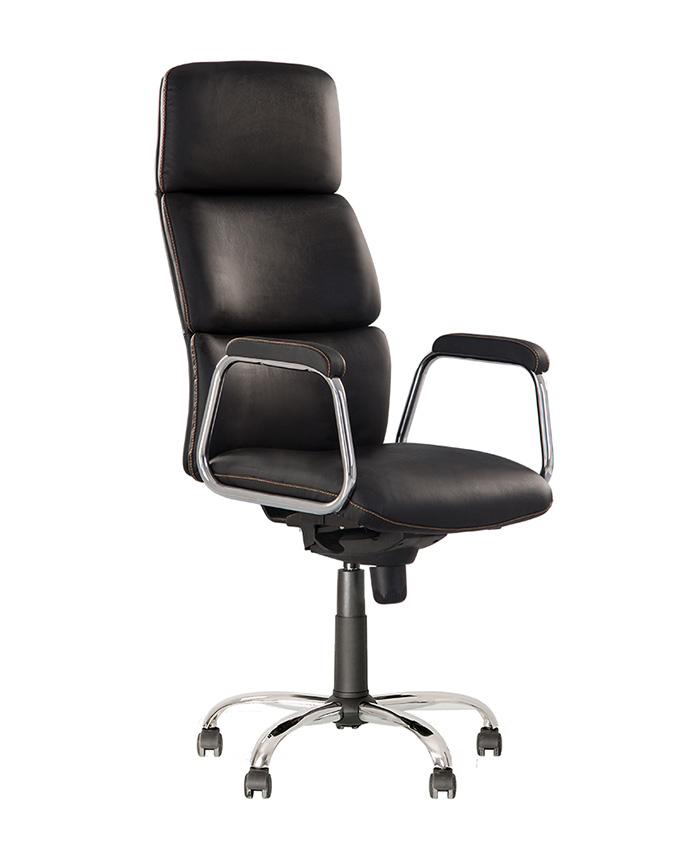 Кожаное кресло руководителя California (Калифорния) steel chrome comfort LE