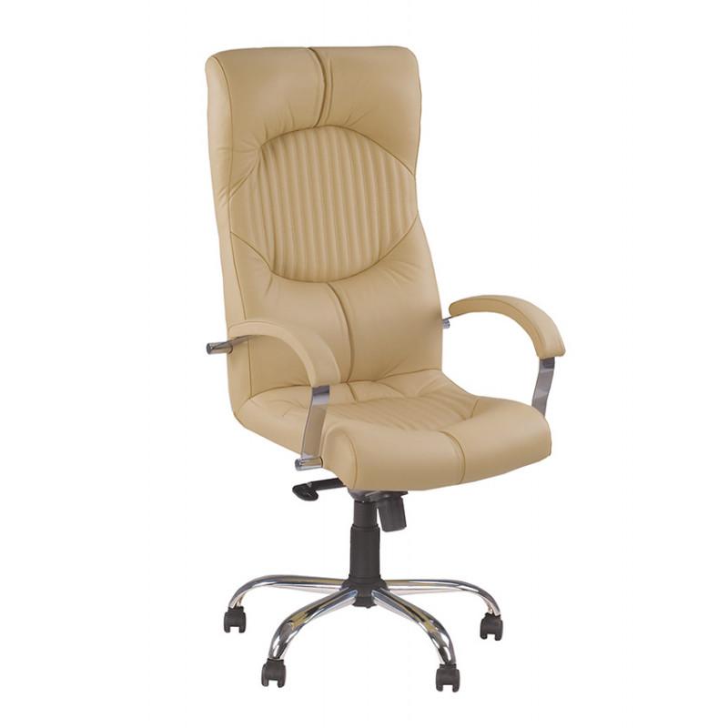 Кожаное кресло для директора Germes (Гермес) steel chrome comfort SP, LE