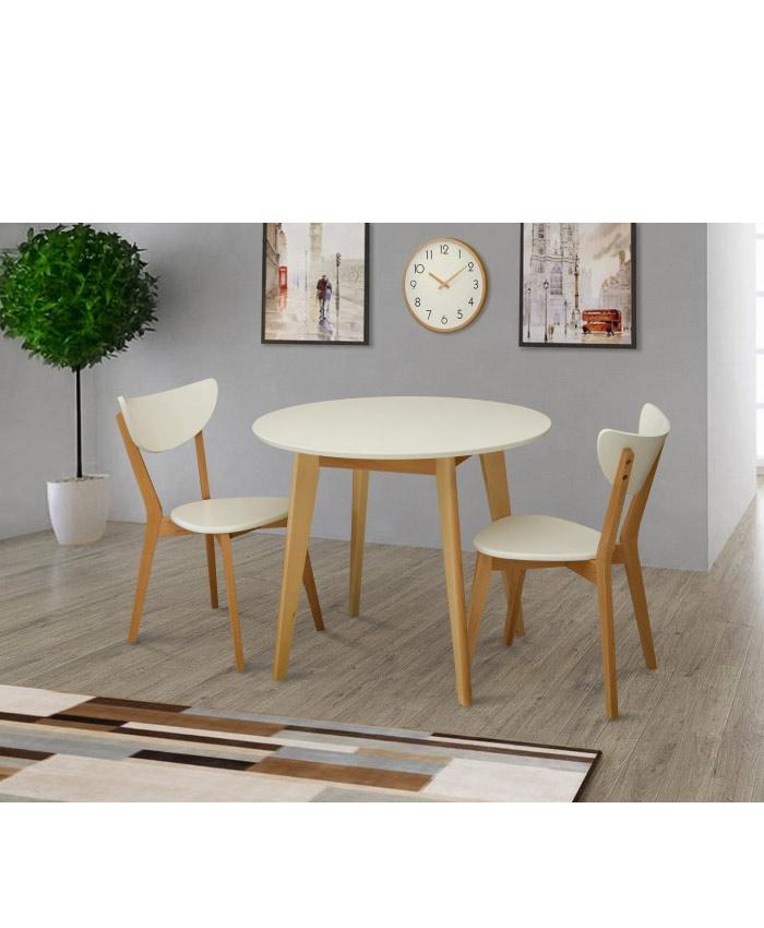 Стол обеденный круглый Модерн белый/бук