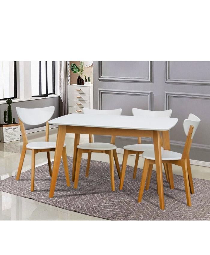 Стол обеденный Модерн белый/бук