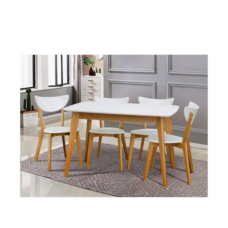 Розкладний обідній стіл Модерн білий/бук
